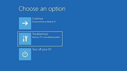 Windows 10 Troubleshoot Menu Screen